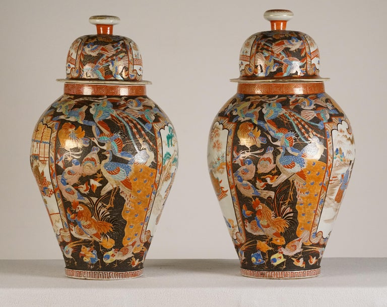 Pair of Large Porcelain Vases Kutani Period For Sale 1