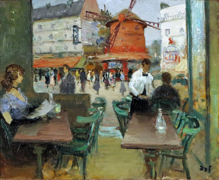 Marcel Dyf,  French, 1899-1985, Moulin Rouge.  Oil on canvas. Signed lower right Dyf. Dimensions: 23 ½ by 28 ½ in. W/frame 32 ½ by 37 ½ in.   Marcel Dyf was born in Paris, October 7, 1899. He was considered a figure, still life, and landscape