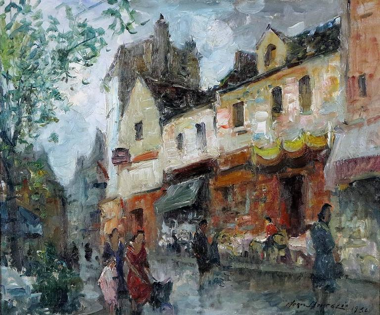 Merio Ameglio  Italian, 1897-1970 Parisian street scene  Oil on canvas 18 by 21 ½ in. with frame 26 by 29 ½ in. Signed lower left  Merio noted impressionist painter primarily known for his landscapes and cityscapes, seascapes and harbor