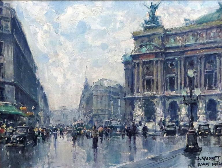 Jean Salabet French, 20th century Le Opera  Paris, 1954  Oil on canvas  Measures: 10 ¾ by 13 ¾ in. With frame 16 ½ by 19 ½ in.  Provenance: Private Collection, New York City Le Trianon Fine Art & Antiques, Sheffield, MA.  Art S66