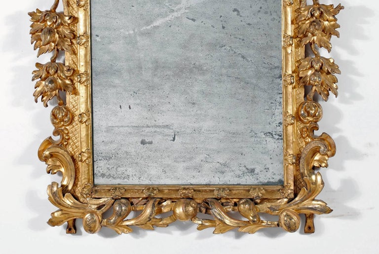 Fine Italian Giltwood Mirror In Good Condition For Sale In Sheffield, MA