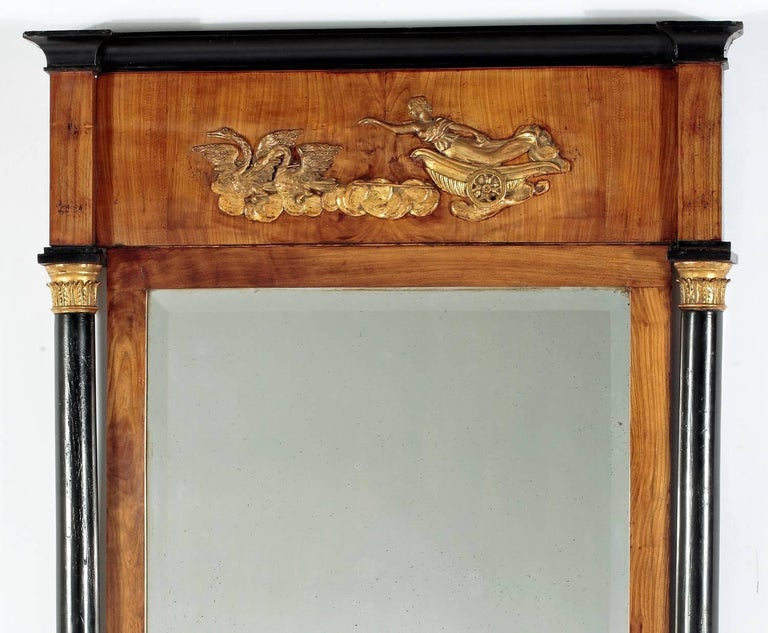 A Fruitwood & Ebonized Parcel Gilt  Neoclassical Pier Mirror Circa 1800  Height 67 in.  Width 33 in.  Provenance: Property of a Gentleman Boston Ma.  Mir30