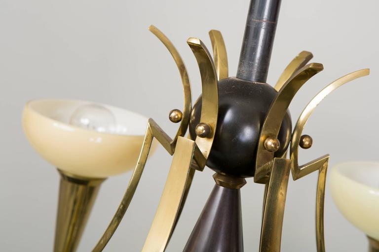 Brass Cubist Chandelier by Architect Josef Gočár For Sale