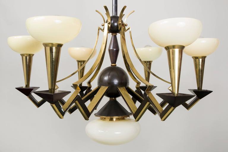Cubist style chandelier by architect Josef Gočár. Original perfect condition.  Rare design.