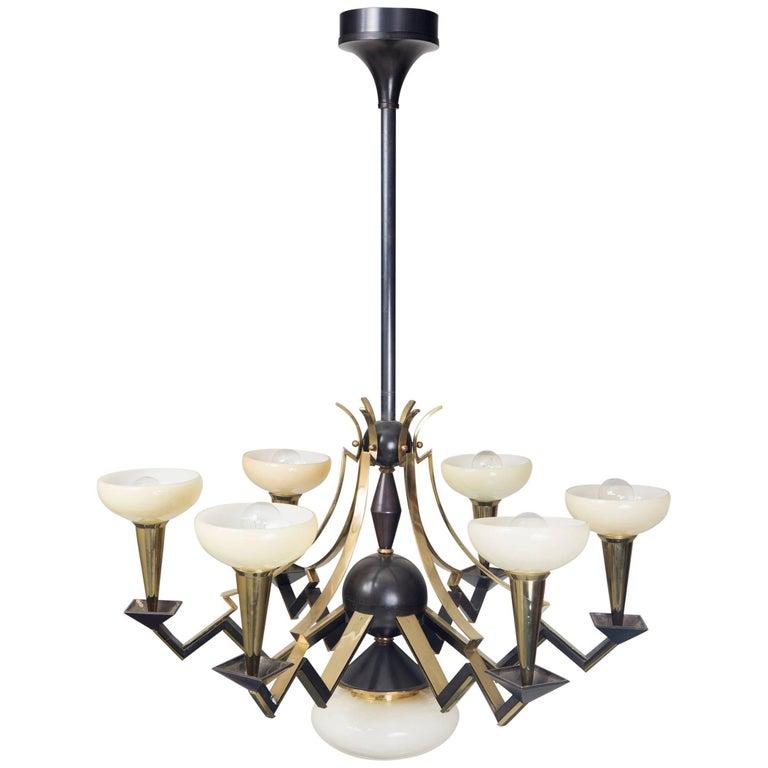 Unique cubist style chandelier by architect josef go r for Unique chandeliers for sale