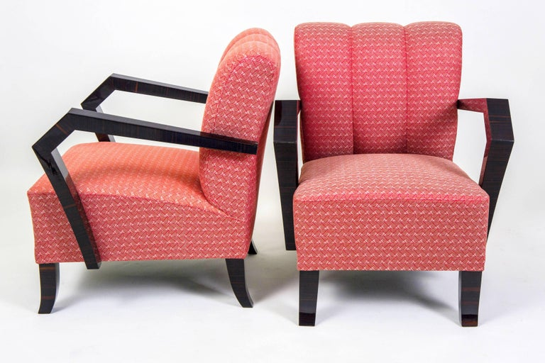 Early 20th Century Pair of Art Deco Armchairs from Czechoslovakia For Sale