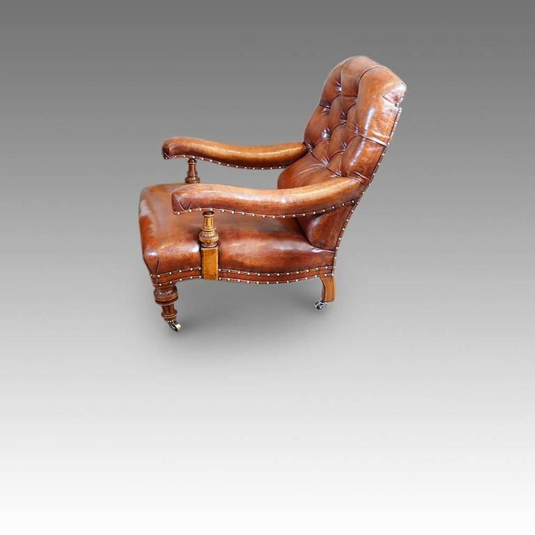 Victorian Leather Button Back Easy Chair Here We Offer This Very  Comfortable Easy Chair. Being