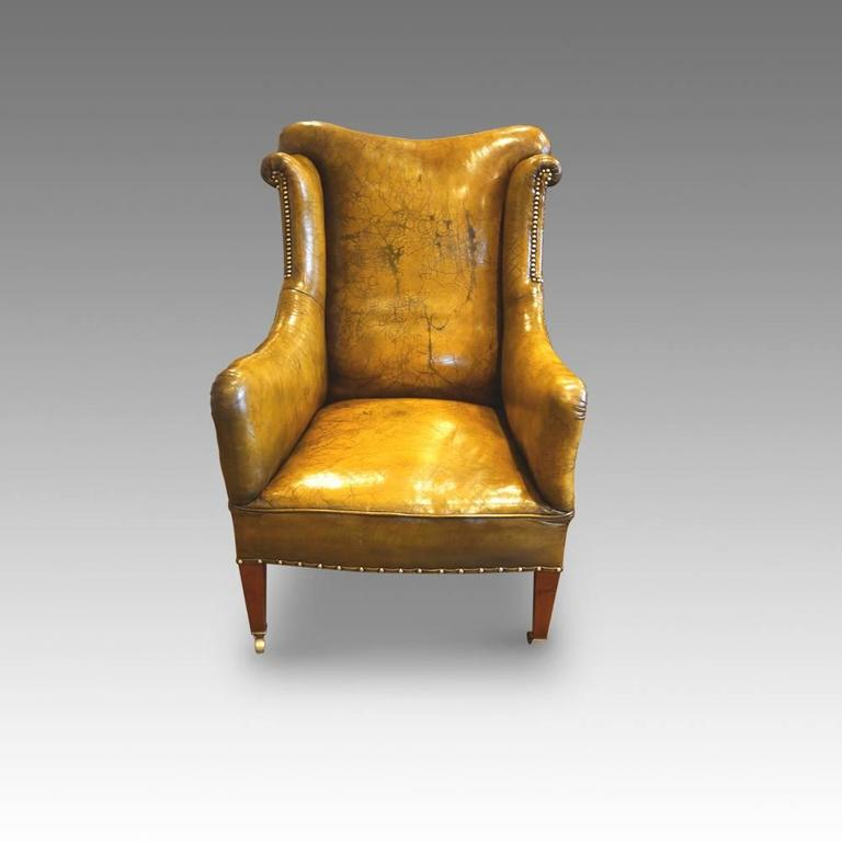 Edwardian Leather Reading Easy Chair For Sale 1 - Edwardian Leather Reading Easy Chair At 1stdibs