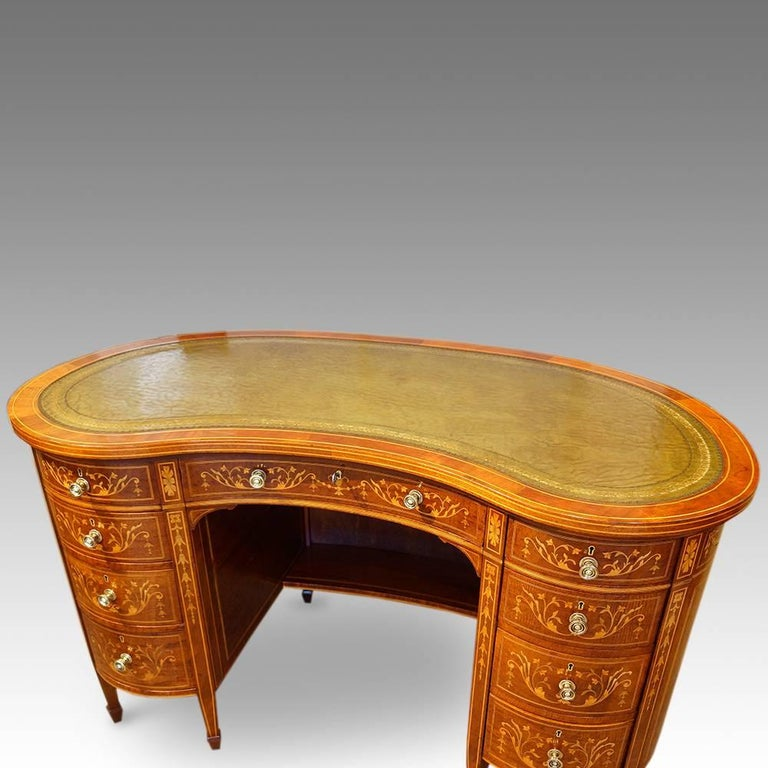 Edwardian inlaid mahogany kidney shaped desk for sale at for Kidney desk for sale