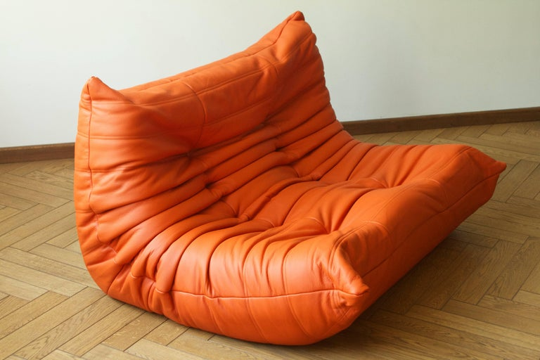 Orange Leather Two Seat Togo Sofa By Michel Ducaroy For