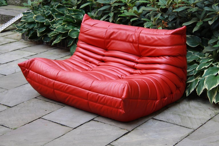 red leather two seat togo sofa by michel ducaroy for ligne roset for sale at 1stdibs. Black Bedroom Furniture Sets. Home Design Ideas