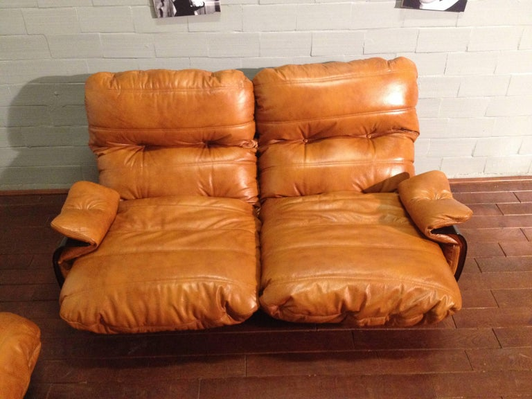 Cognac Leather Marsala Lounge Chairs by Michel Ducaroy for Ligne Roset, 1970s In Good Condition For Sale In Berlin, DE