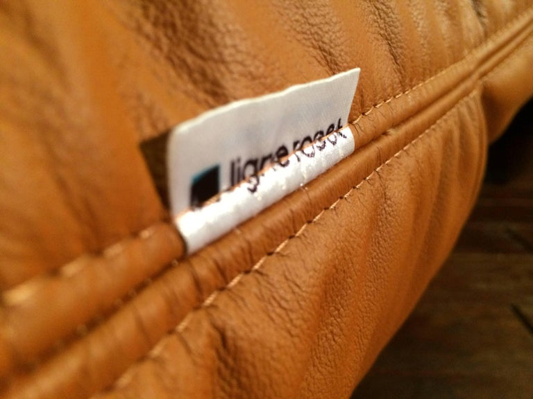 French Cognac Leather Marsala Lounge Chair and Pouf by Michel Ducaroy for Ligne Roset For Sale