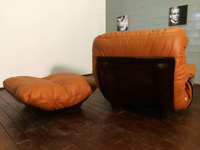 Mid-20th Century Cognac Leather Marsala Lounge Chair and Pouf by Michel Ducaroy for Ligne Roset For Sale