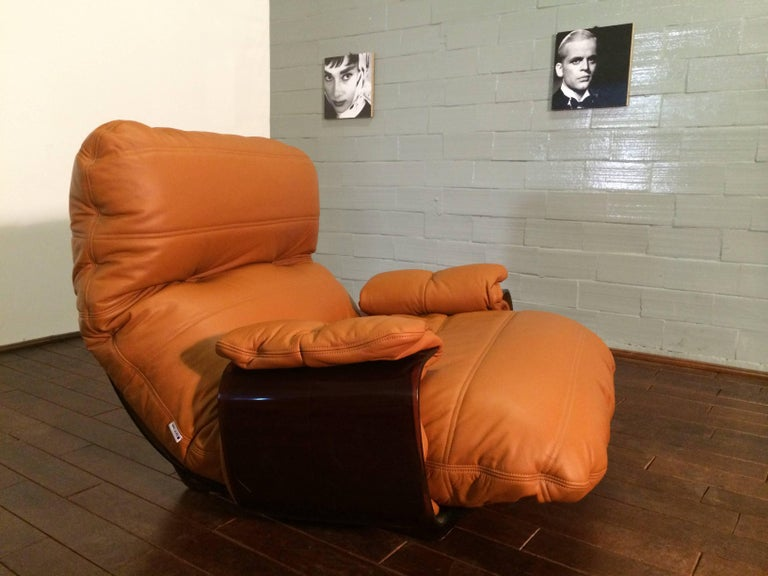 Cognac Leather Marsala Lounge Chair and Pouf by Michel Ducaroy for Ligne Roset For Sale 1
