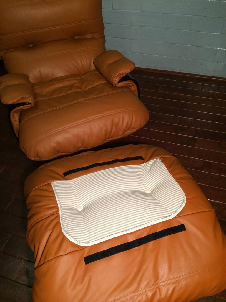Cognac Leather Marsala Lounge Chair and Pouf by Michel Ducaroy for Ligne Roset For Sale 2