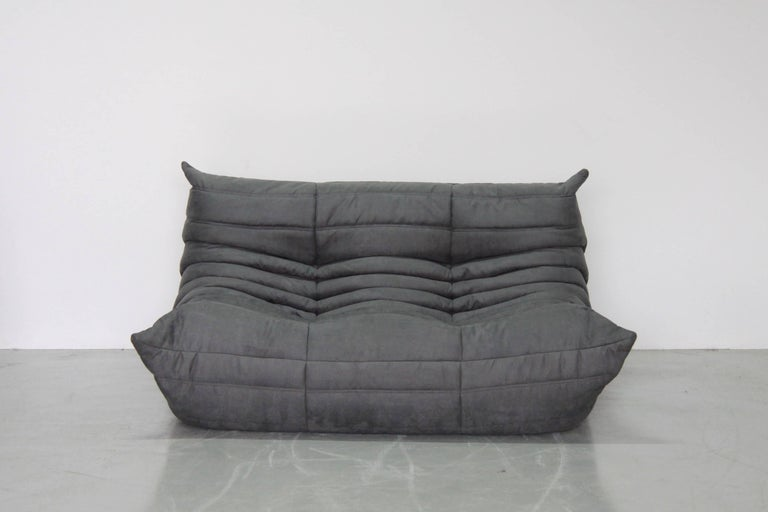 Grey microfibre togo sofa set by michel ducaroy for ligne roset set of three - Michel ducaroy togo sofa ...