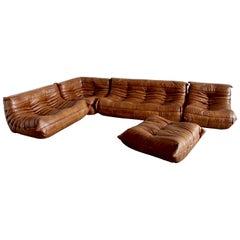 Tobacco Leather Togo Living Room Set by Michel Ducaroy for Ligne Roset