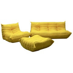 Vintage Yellow Microfibre Togo Sofa Set by Michel Ducaroy for Ligne Roset, 1970s