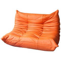 Orange Leather Two-Seat Togo Sofa by Michel Ducaroy for Ligne Roset