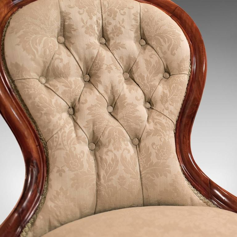 Upholstery 19th Century Antique Salon Chair, Victorian Button Back, circa 1840 For Sale