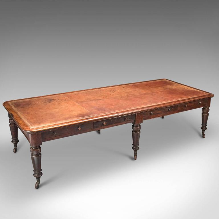 High Victorian 19th Century Large Antique Library Table, Victorian  Boardroom For Sale - 19th Century Large Antique Library Table, Victorian Boardroom For