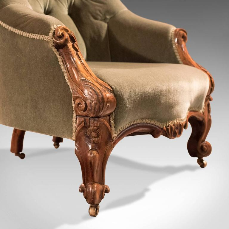 19th Century Antique Salon Chair, Early Victorian Button Back For Sale 4