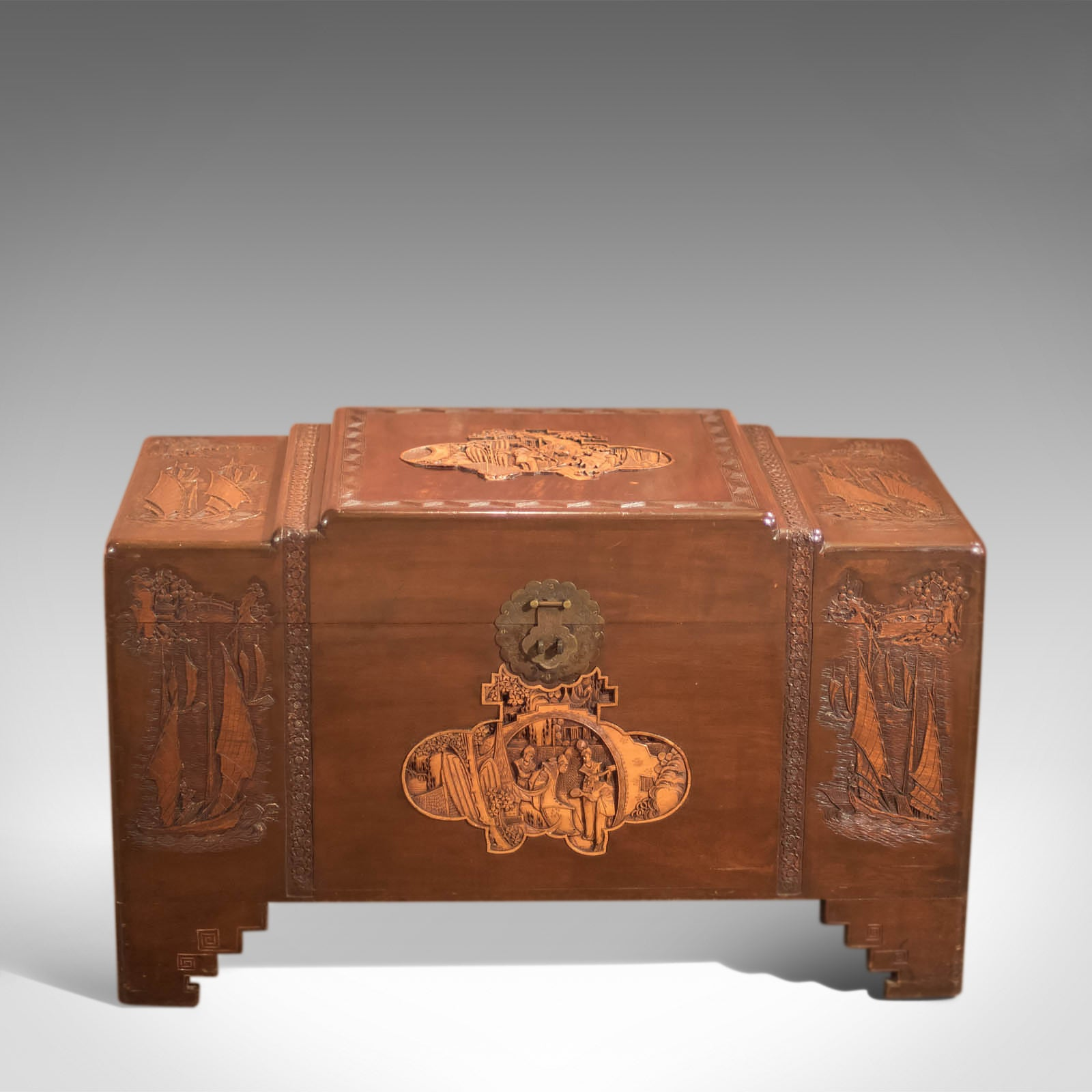 Genial Antique Chest, Oriental Camphor Wood Trunk, 1930s At 1stdibs