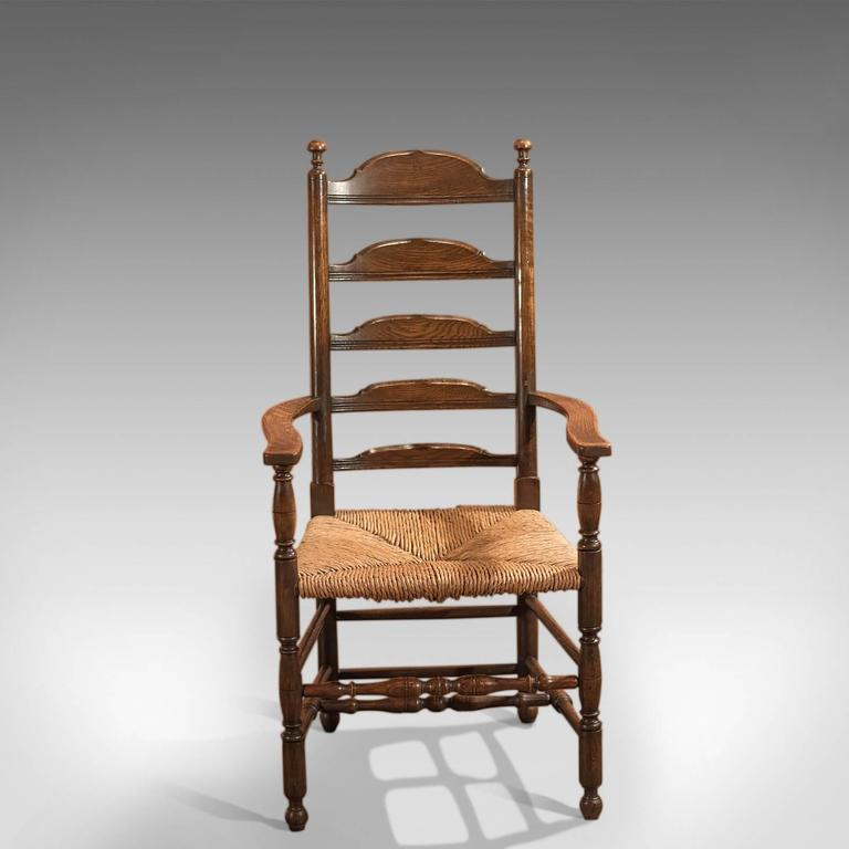 Victorian Antique Elbow Chair, Dining Ladder Back, Circa 1900 For Sale