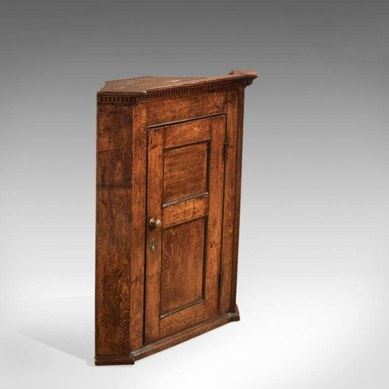 British 18th Century Georgian Oak Corner Cabinet, circa 1750 For Sale - 18th Century Georgian Oak Corner Cabinet, Circa 1750 At 1stdibs