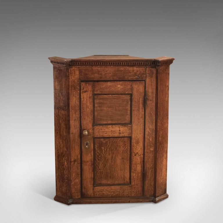This is an antique, Georgian corner cabinet dating to circa 1750. A super  example - 18th Century Georgian Oak Corner Cabinet, Circa 1750 At 1stdibs