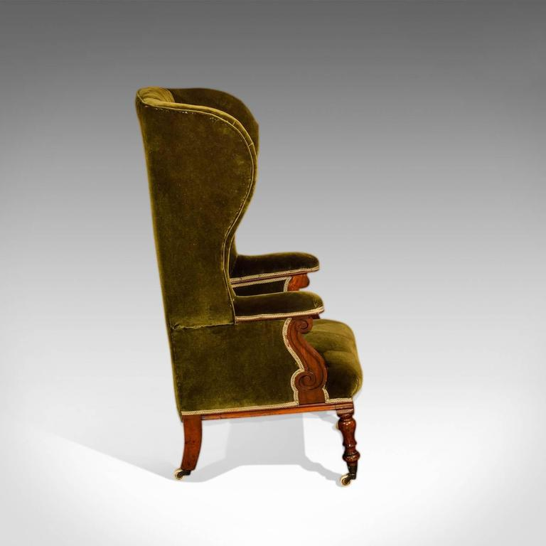 Antique Wing Back Chair, Victorian, Green Velvet, circa 1850 In Good Condition For Sale In Taunton, GB