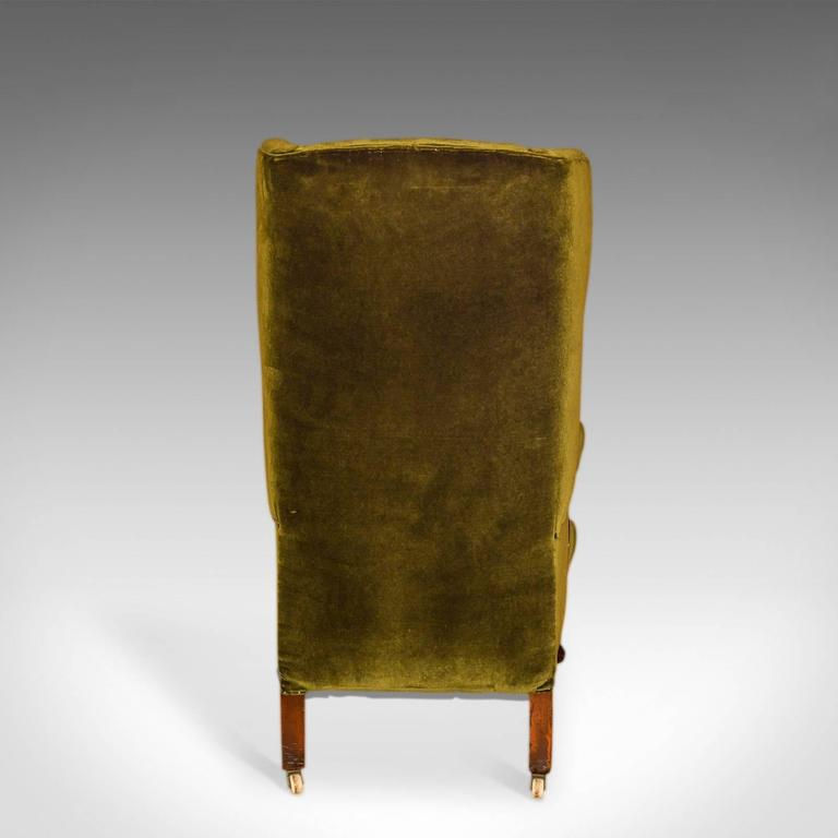 19th Century Antique Wing Back Chair, Victorian, Green Velvet, circa 1850 For Sale