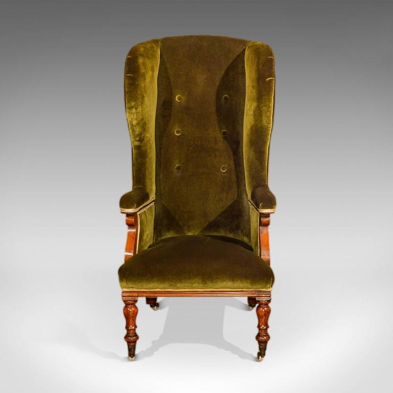 British Antique Wing Back Chair, Victorian, Green Velvet, circa 1850 For Sale