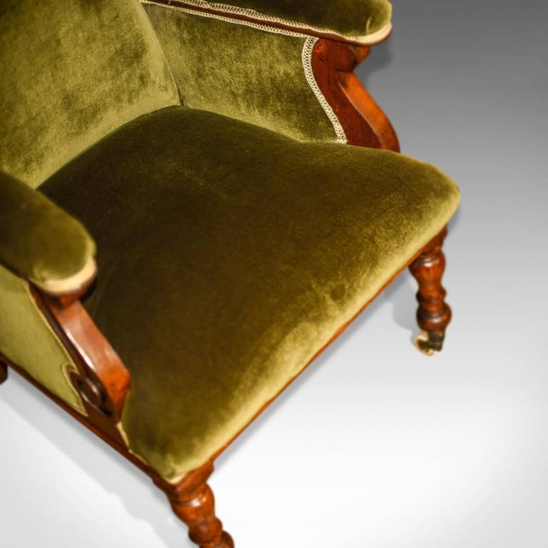 Antique Wing Back Chair, Victorian, Green Velvet, circa 1850 For Sale 3