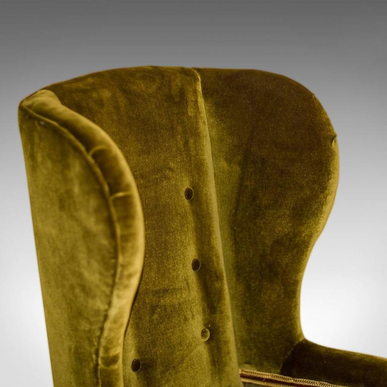 Antique Wing Back Chair, Victorian, Green Velvet, circa 1850 For Sale 2