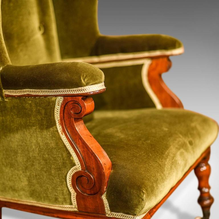 Antique Wing Back Chair, Victorian, Green Velvet, circa 1850 For Sale 4