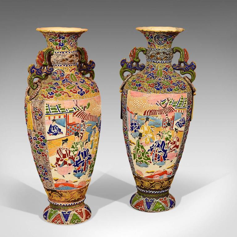 Pair Of Antique Vases Japanese Moriage Satsuma At 1stdibs
