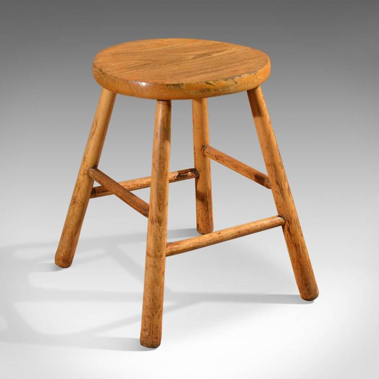 French Provincial Kitchen Stools: Antique Set Of Four Stools, Elm And Ash, French Country