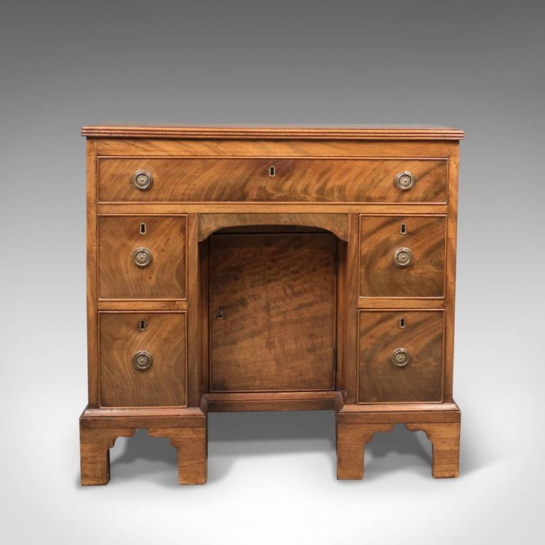Georgian Antique Kneehole Desk, Victorian Knee Hole, circa 1870