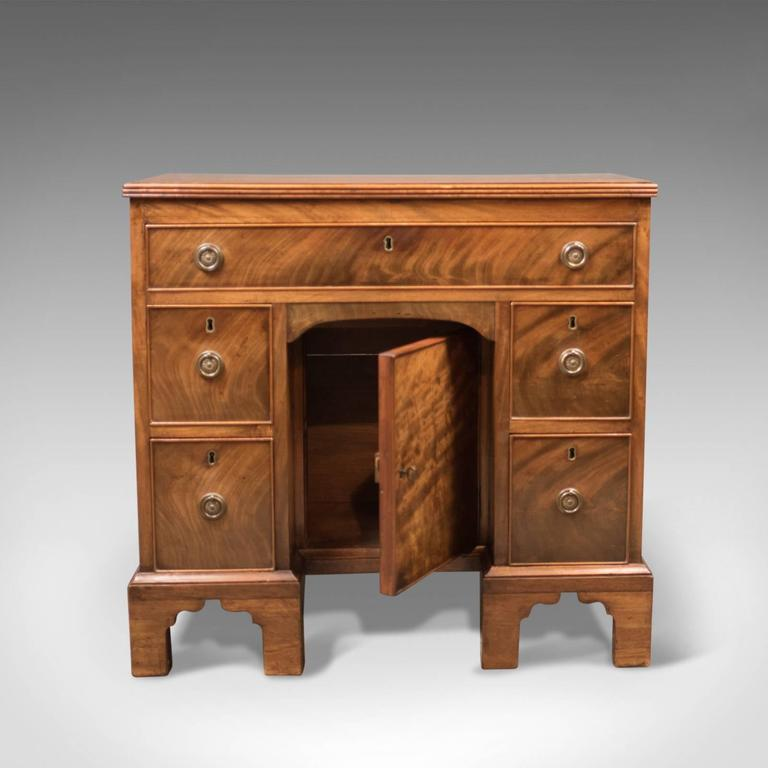 19th Century Antique Kneehole Desk, Victorian Knee Hole, circa 1870