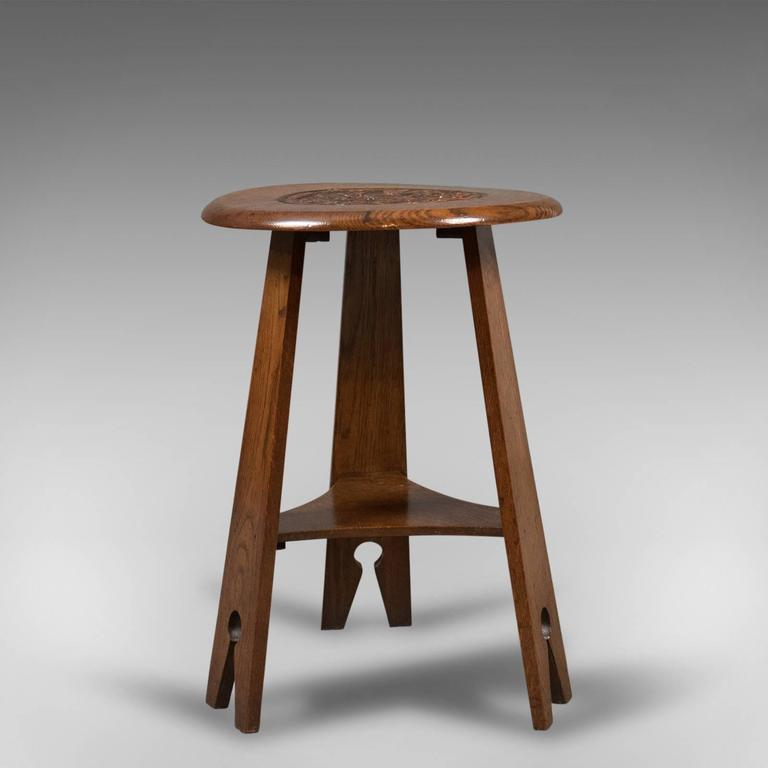 Arts and crafts side table carved oak circa 1890 for for Arts and crafts side table