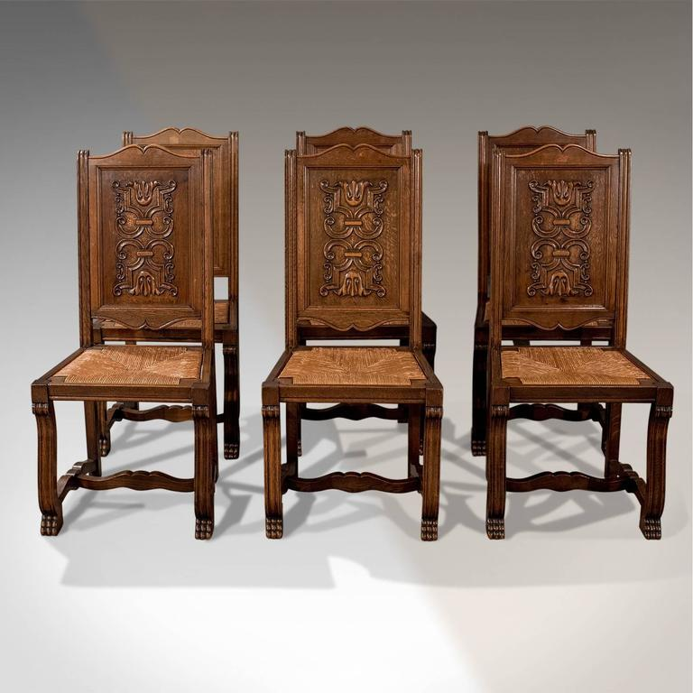 French Kitchen Chairs: Antique Oak Set Of Six French Kitchen Dining Chairs, Rush