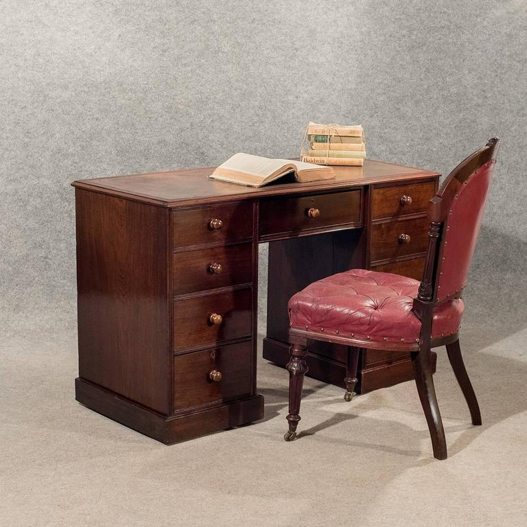 A quality original Victorian writing study desk presented in very good  antique condition Of interest displaying - Antique Writing Study Pedestal Desk Leather Top Victorian Mahogany