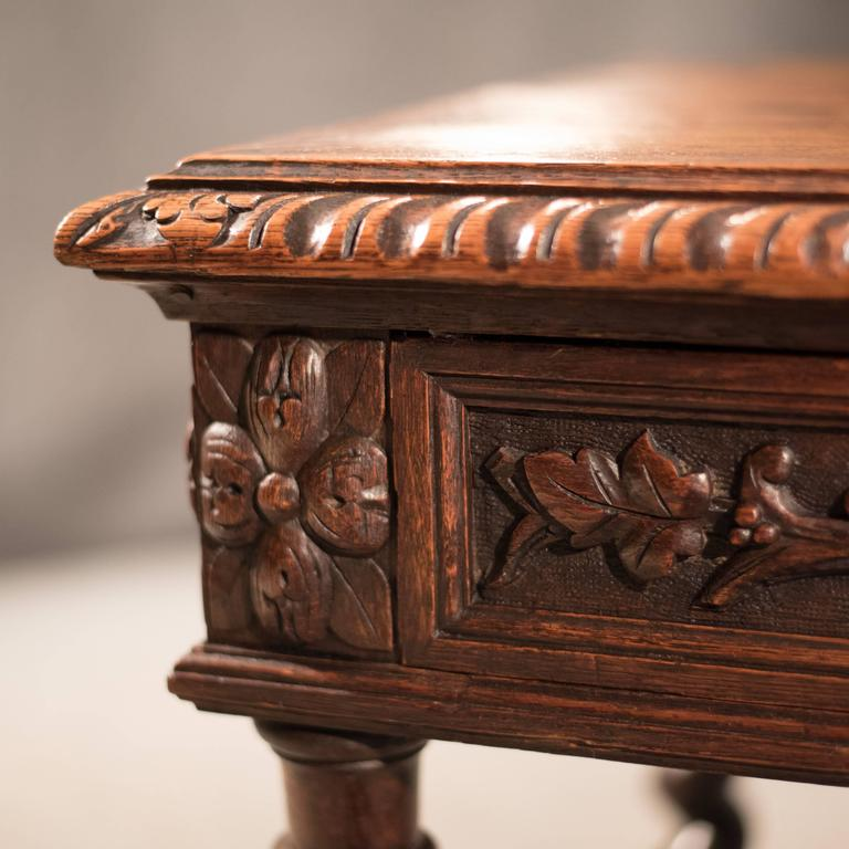 Jacobean Antique Desk Library Writing Table Side Hall Victorian English  Carved Oak For Sale - Antique Desk Library Writing Table Side Hall Victorian English