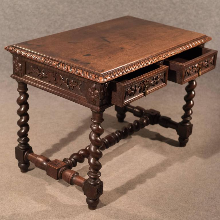Antique Desk Library Writing Table Side Hall Victorian English Carved Oak For 1