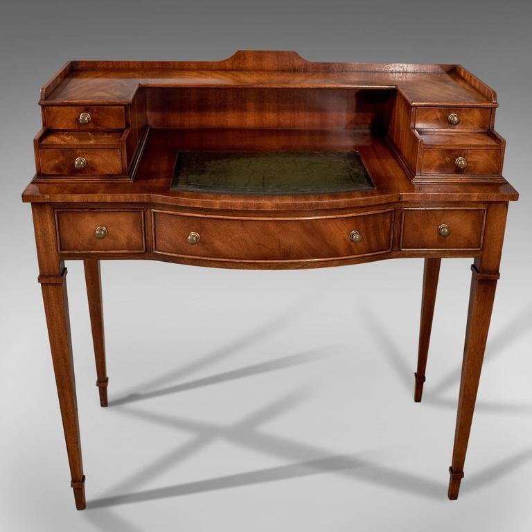 English Writing Desk, Antique Sheraton Taste, Mahogany, Leather Top, Table,  Bureau - Writing Desk, Antique Sheraton Taste, Mahogany, Leather Top, Table