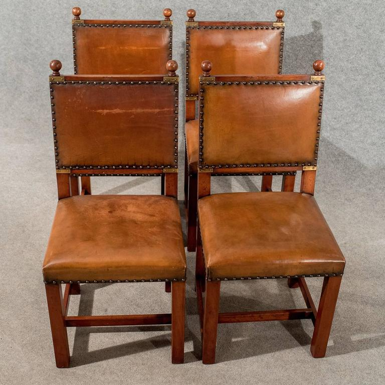 Great Britain (UK) Antique Oak and Leather Set Four Dining Kitchen Chairs  Comfy and - Antique Oak And Leather Set Four Dining Kitchen Chairs Comfy And