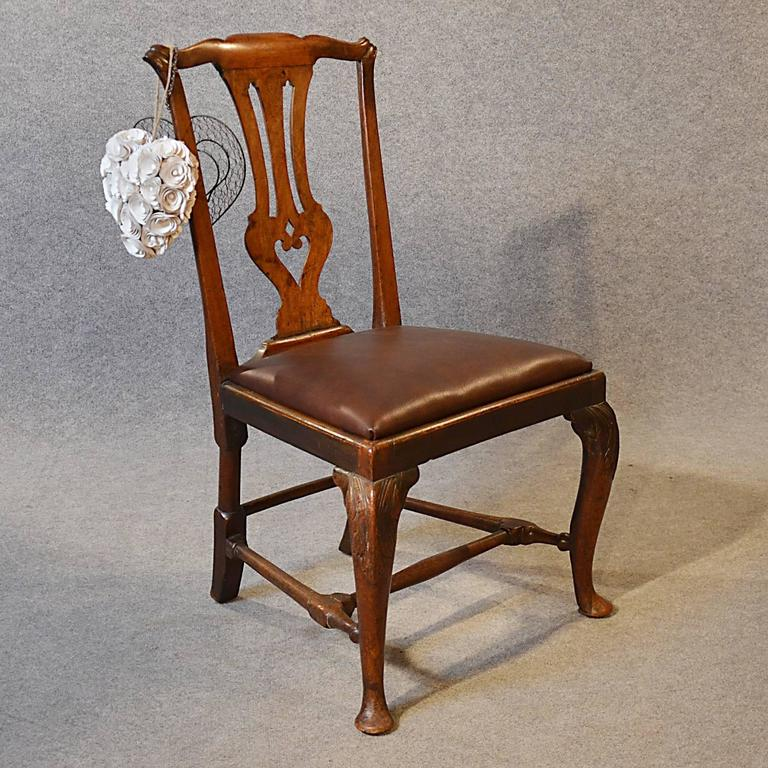 His attractive George ll period English side dining chair offers Classic  pre-Chippendale style and - Antique Chair Dining Side Fine English Leather And Mahogany Pre