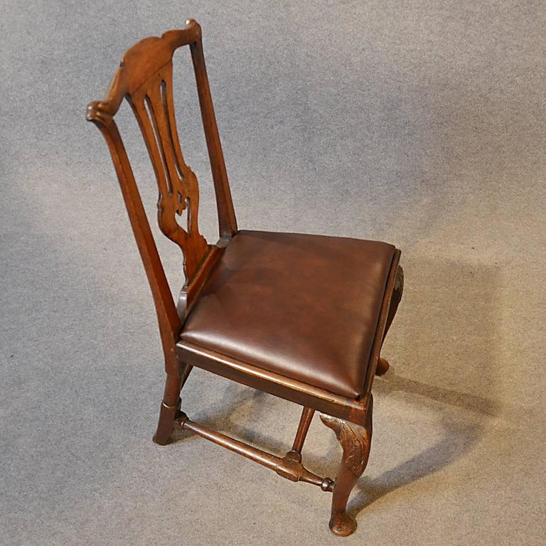 Antique Chair Dining Side Fine English Leather & Mahogany Pre Chippendale  For Sale 1 - Antique Chair Dining Side Fine English Leather And Mahogany Pre